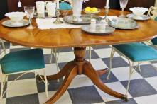 Flame Pattern Mahogany Table $165 UNPAINTED 57 1/2 W x 41 1/4 D (includes 12 1/2 leaf) Item No 609